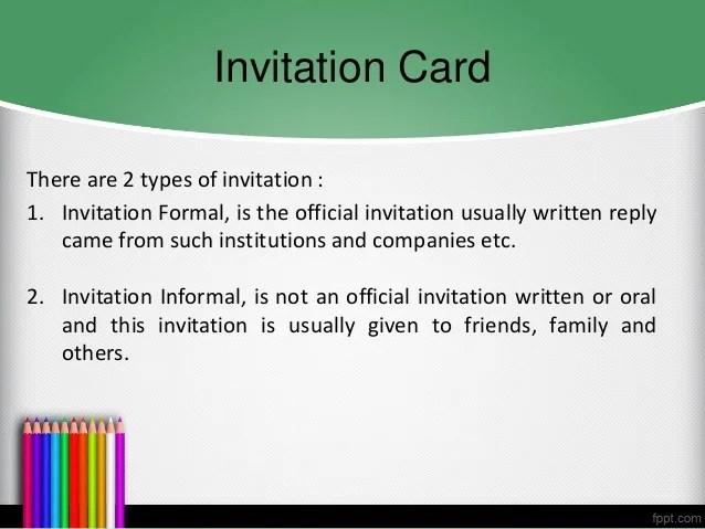 Contoh invitation card formal and informal inviview b inggris invitation card announcement stopboris Choice Image