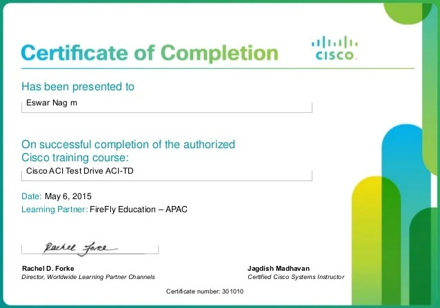 Cisco Certified Course Completion Certificate 1375289