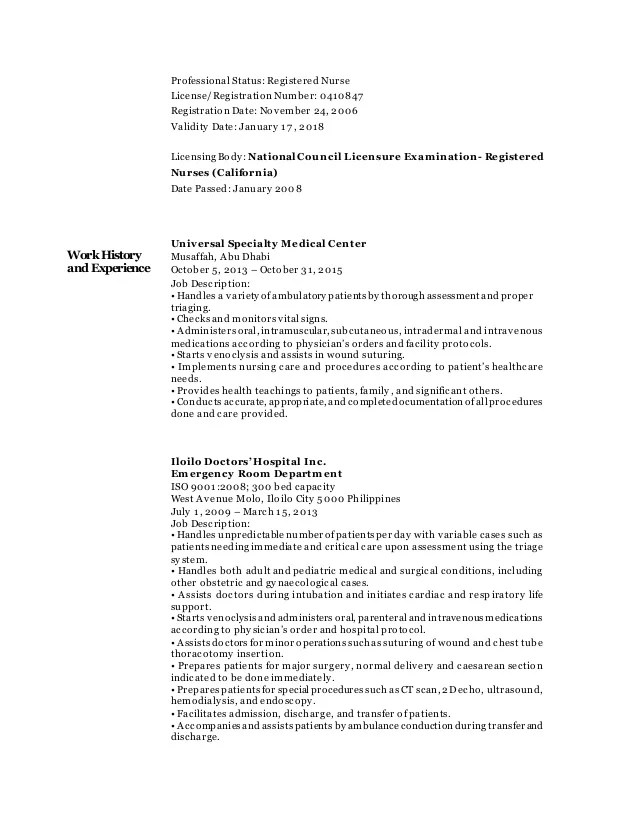 Resume Registered Nurse. Clinical Example. Professional New Grad