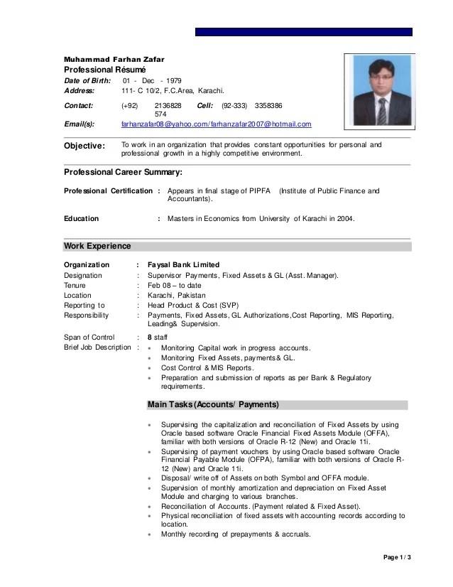 cv farhan asset manager accounts upds