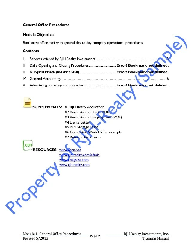 Office Procedures Manual Template Sample Office Procedures
