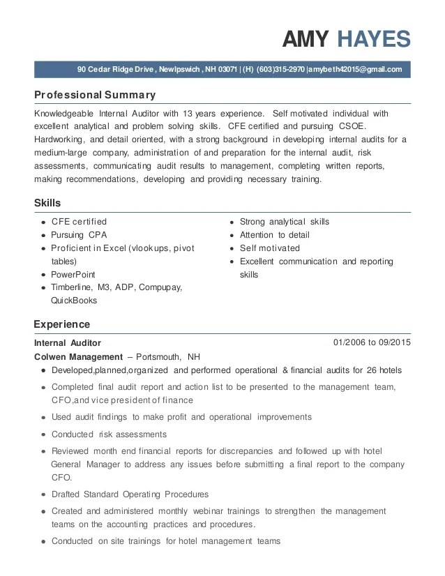 Internal Auditor Resume. Sample Internal Auditor Resume. Free