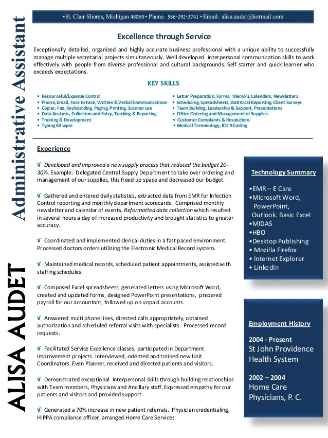 administrative assistant resume january 2015