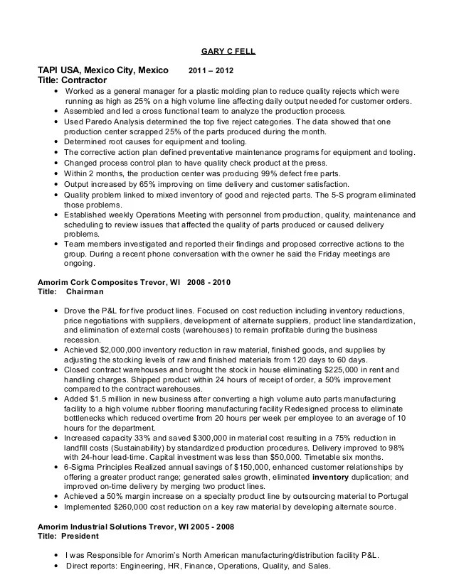 computer manufacturing manager resume