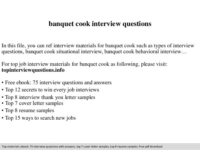 Banquet Cook Resume Samples And How To Write A