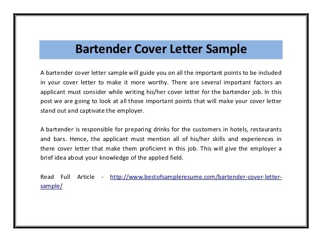 Bartender Resume Sample Letter. bartender resume sample letter ...
