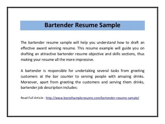 Bartender Resume Samples. Bartenders Resume Bartender Resume