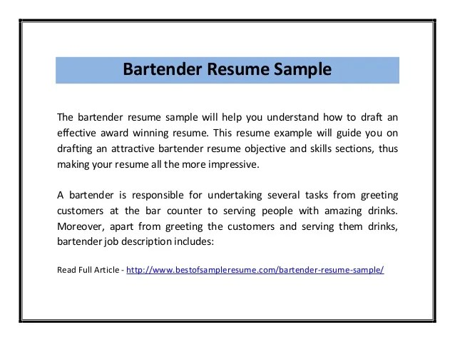 barman cv example bartender resume example bartender choose