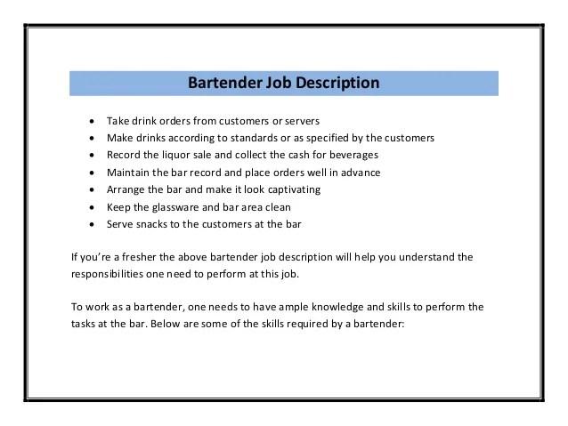 Bartending Resume Summary. Resume Example Bartender Bartender
