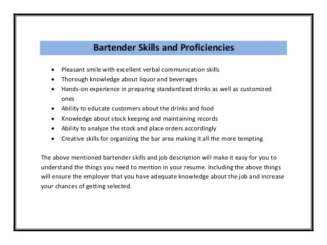doc.#23883111: how to write a bartender resume ? awesome sample ... - Bartender Resume Example