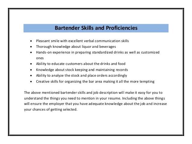 bartenders resume skills the example of bartender resume example