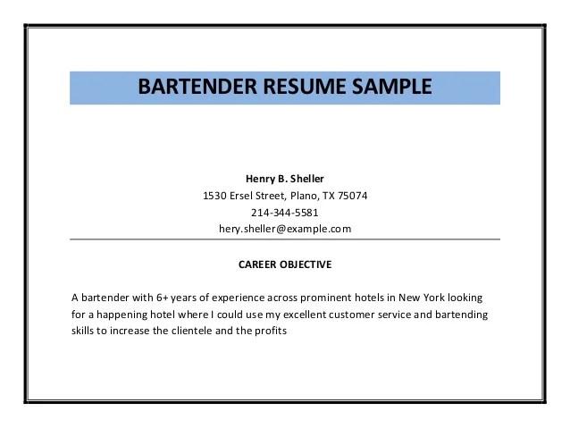bartender resume objective bartending resume objective