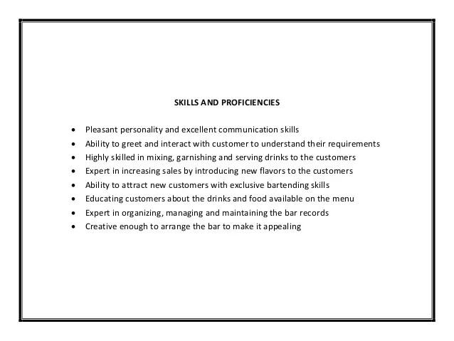 Resume For Bartender Samples And Tips