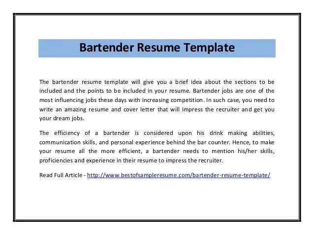 resume template bartender no experience sample server word