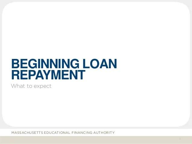Beginning repayment