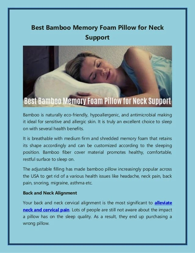 best bamboo memory foam pillow for neck