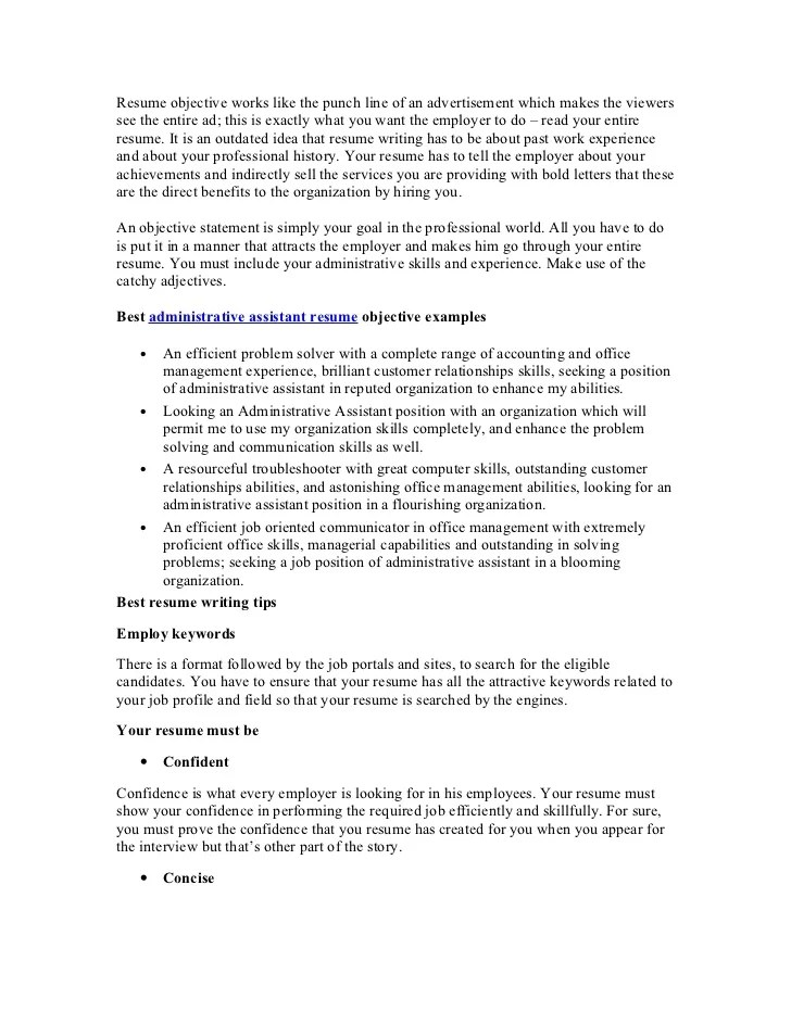 personal assistant resume objective