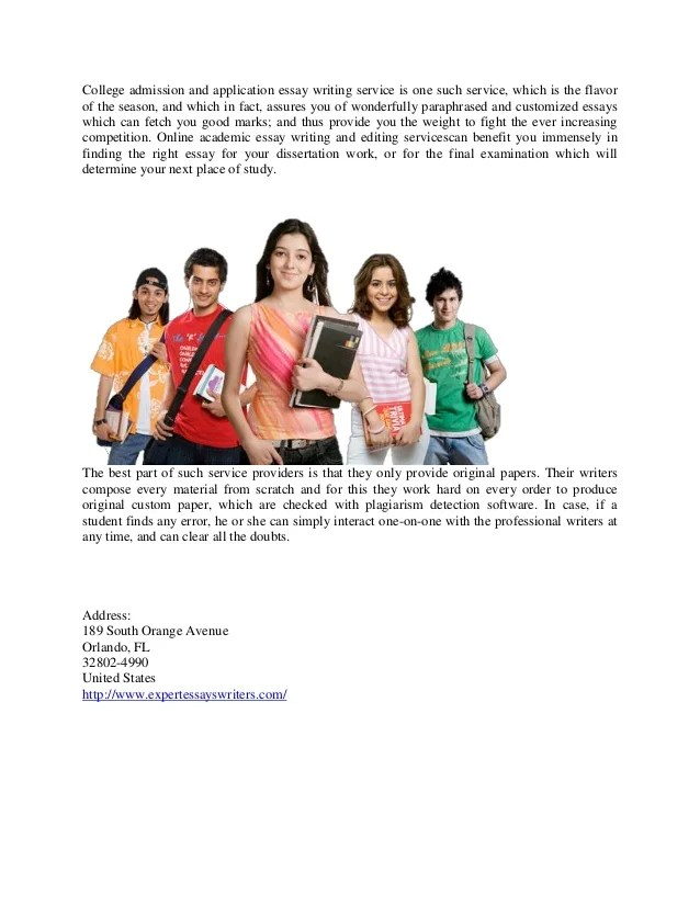 Screengrab of website advertising essay writing services