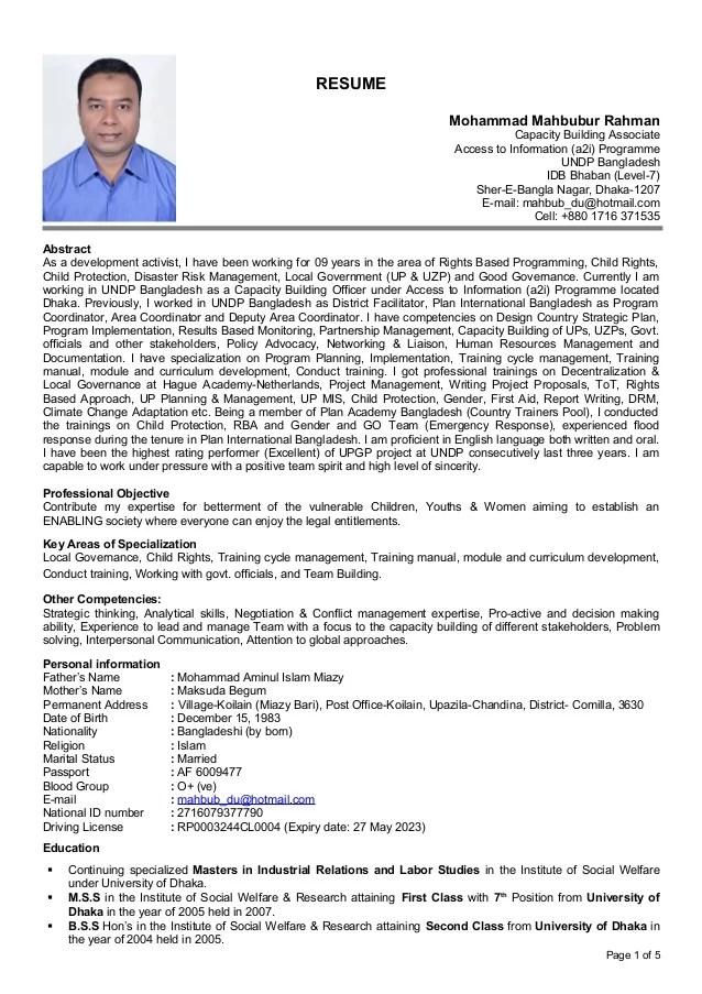 CV Mahbub