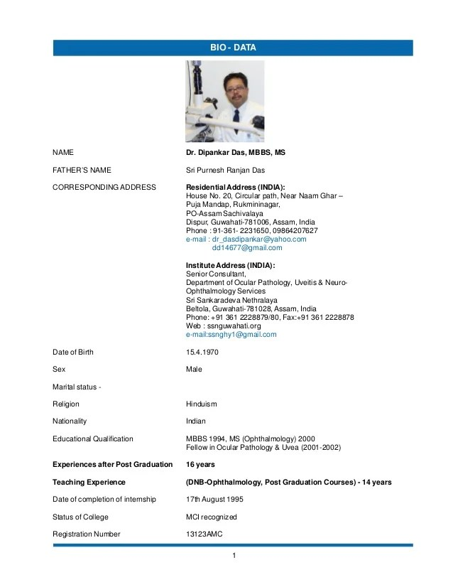 Biodata Dr Dipankar Das