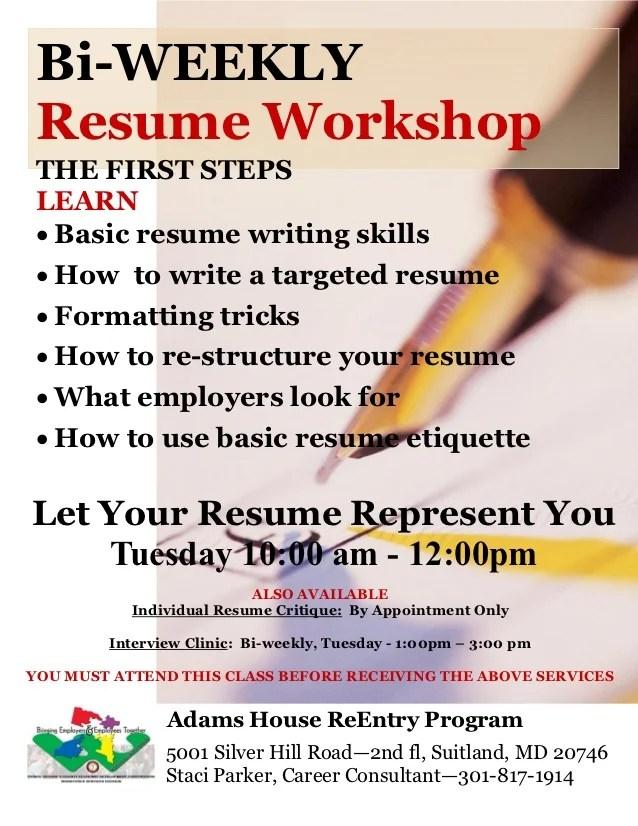 bi weekly resume workshopthe first stepslearn basic resume writing
