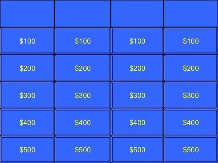 Blank Jeopardy Template
