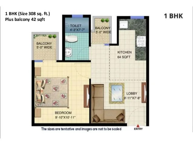 2 BHK (Size 489 sq. ft.) Plus balcony 65 sqft