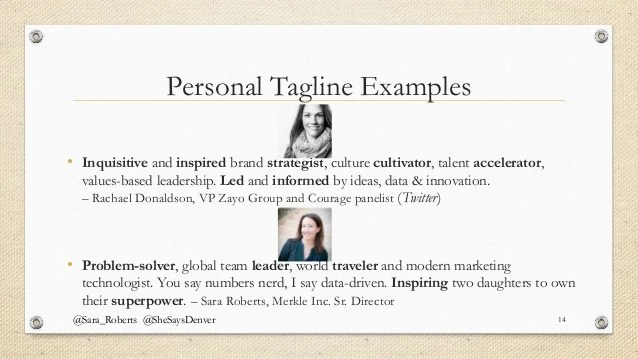 Ideas Personal Tagline