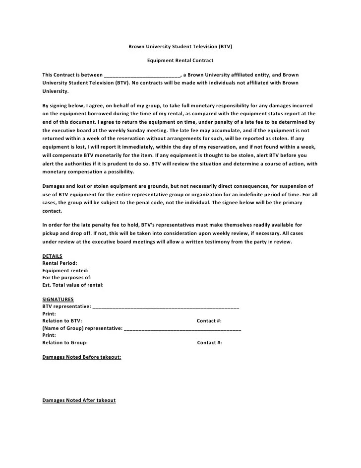 example document for equipment lease equipment lease agreement – Equipment Lease Form Template