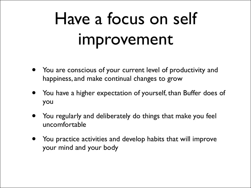 Have A Focus On Self
