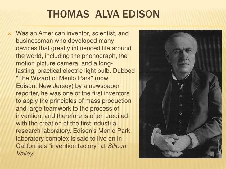 Thomas Alva Edison Invention Light Bulb
