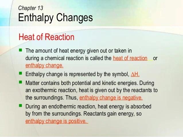 Enthalpy Units Change