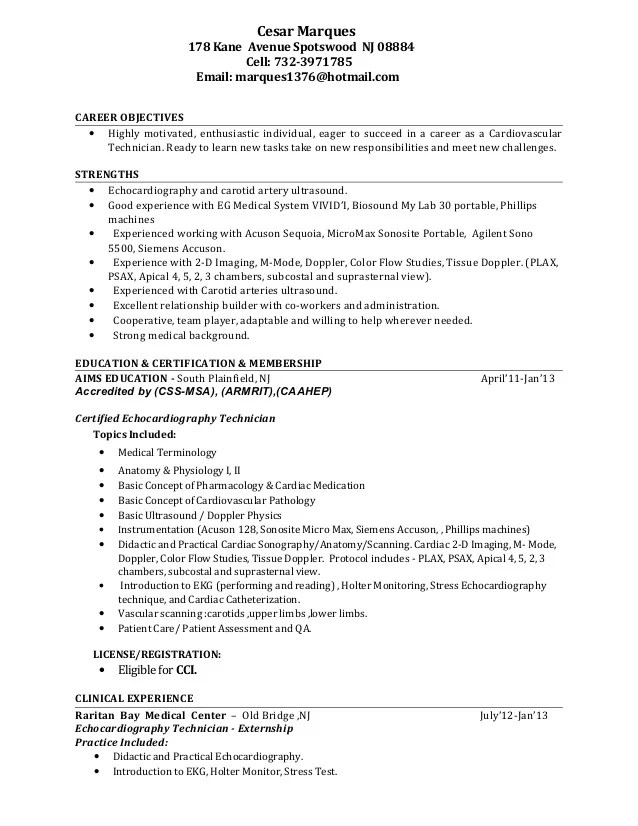 sample resume resume template for veterinary technician free
