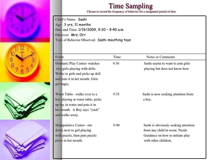 time sampling case study portfolio assessment project