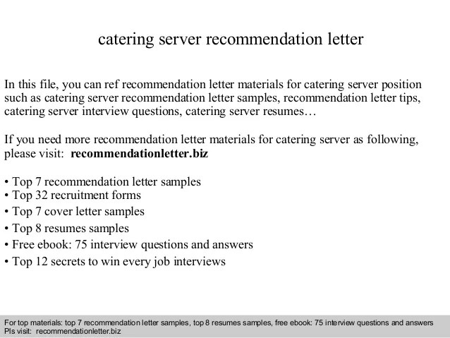 Catering Server Recommendation Letter