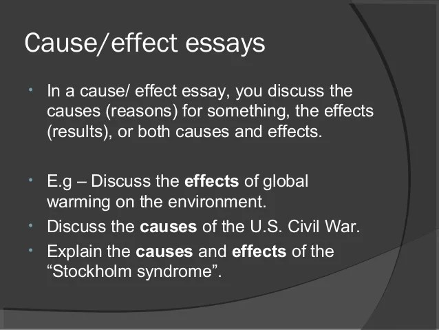 cause and effect sample essay
