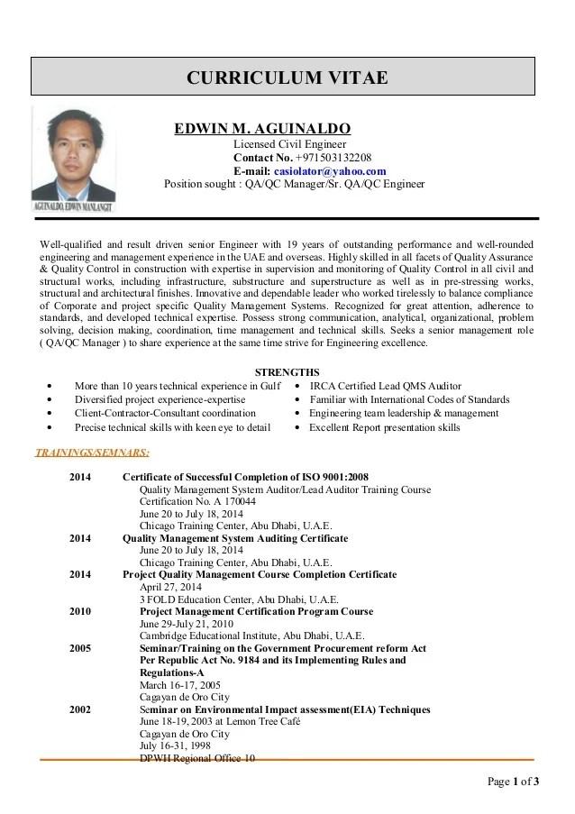 Qa Qc Engineer Cv Format. engineer resume sample assurance ...