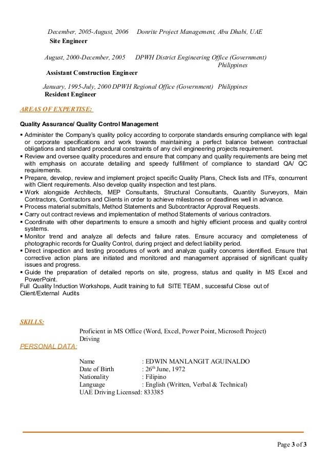 resume for construction manager samples construction quality control