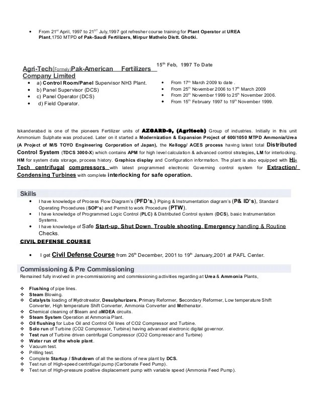 resume for forklift operator chemical operator resume