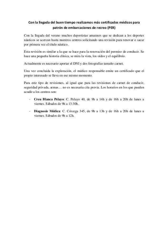 Certificado Mdico Para PER Patrn De Embarcacin