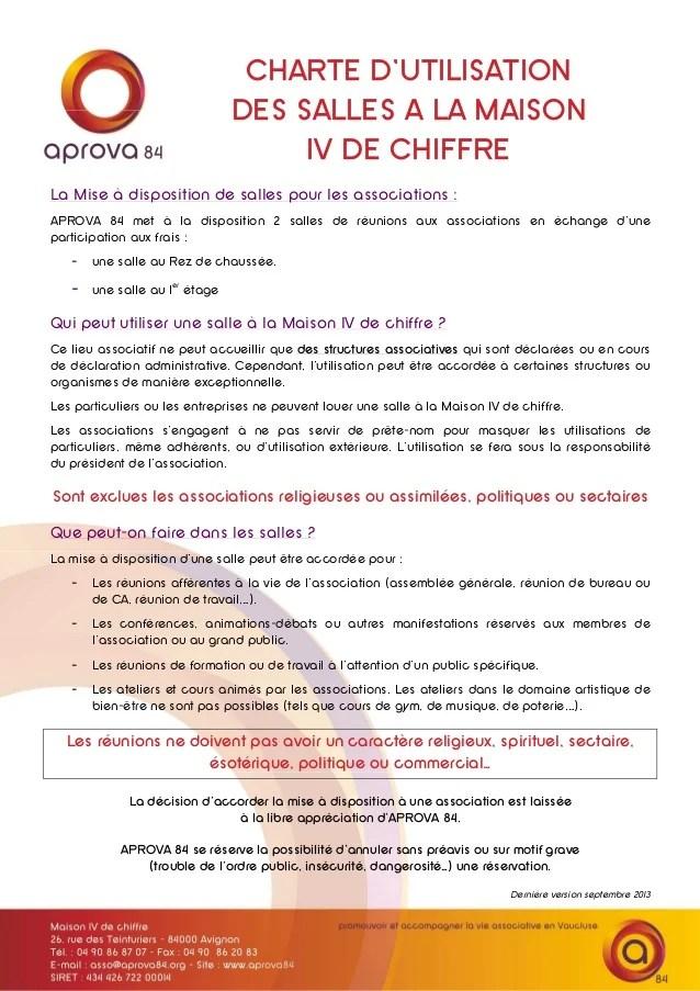 Charte D Utilisation De Salle 2014