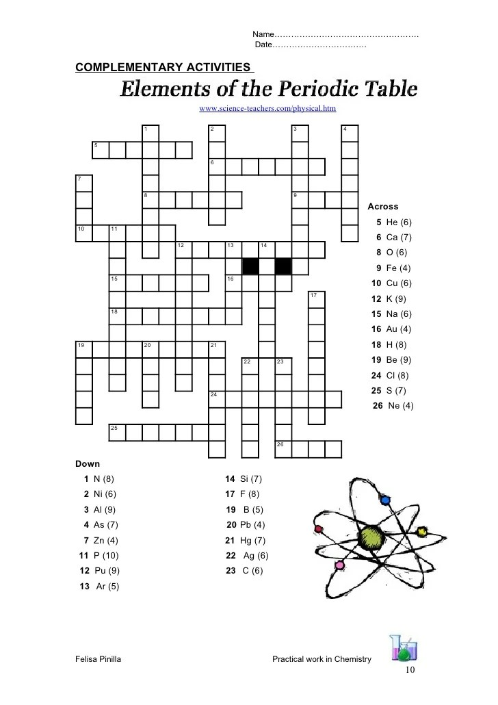 Periodic Table Crossword Puzzle Answers Physical Science