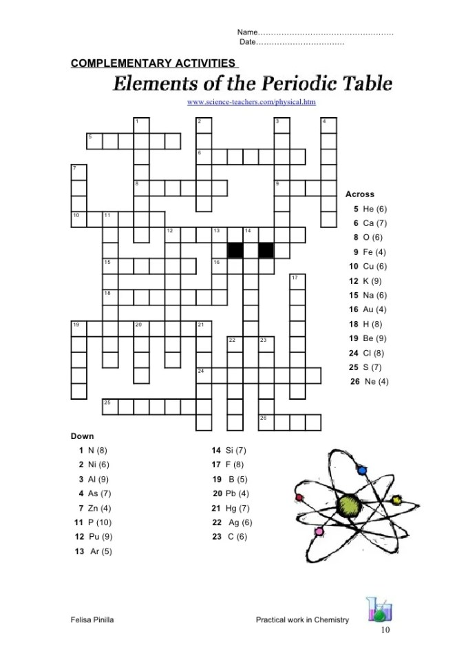 Periodic table crossword puzzle answers physical science if8767 periodic table puzzle crossword answers images of urtaz Choice Image