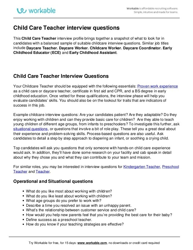 Child Care Teacher Interview Questions