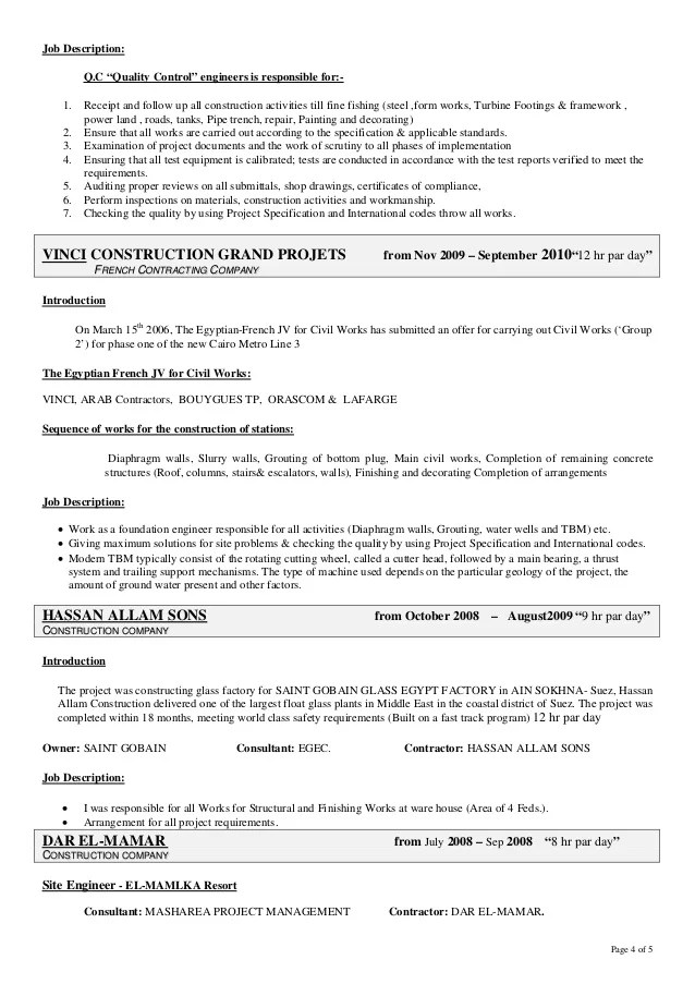 Qa Qc Civil Engineer Resume Sample. alam qa qc resume mirsad ...