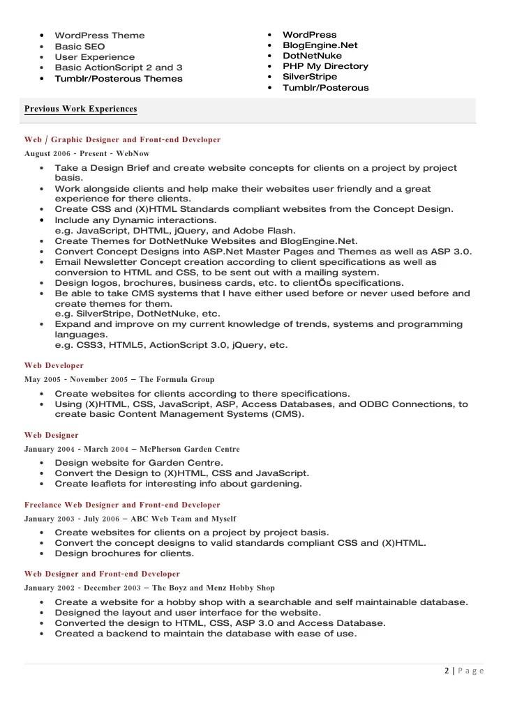 resume example sample resume best web designer developer resume