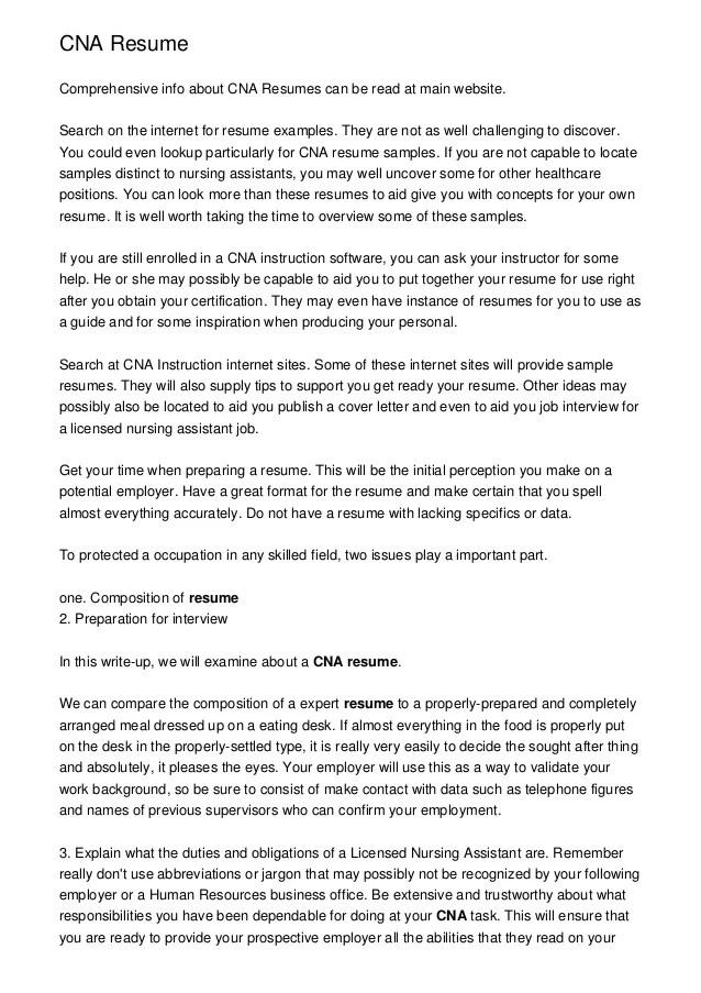 Example Of A Cna Resume Reportspdf819 Web Fc2 Com