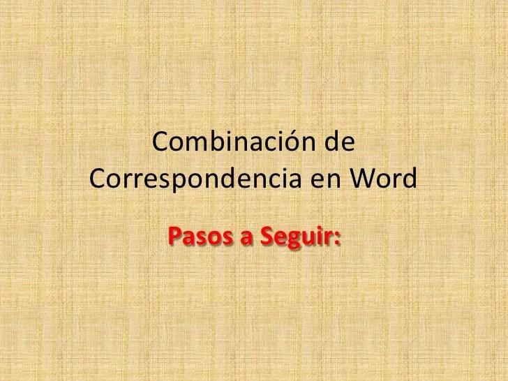 Combinacin De Correspondencia En Word