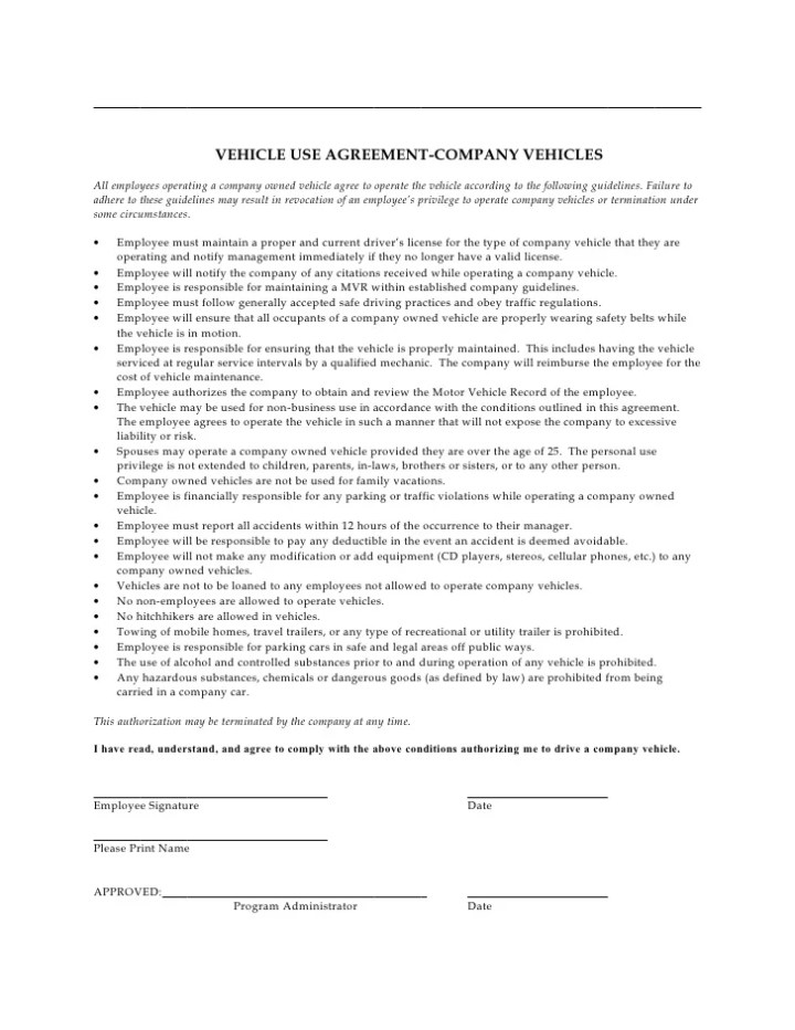 Company Car Use Policy Template Carsjp