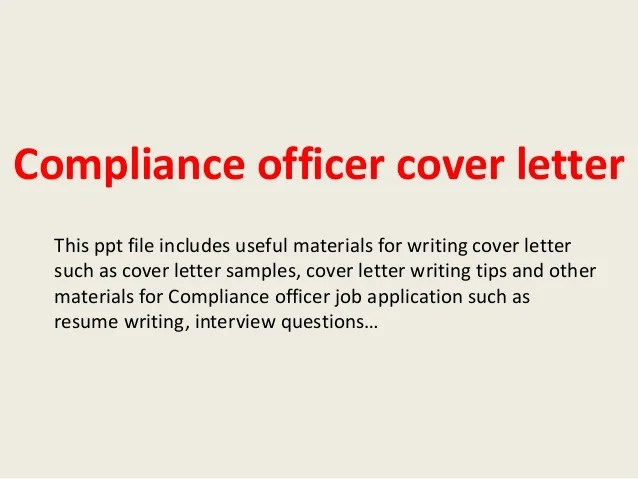 Regulatory Compliance Resume Cover Letter Sample For